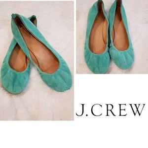J.Crew Cece Green Suede Ballet Slippers Size 6